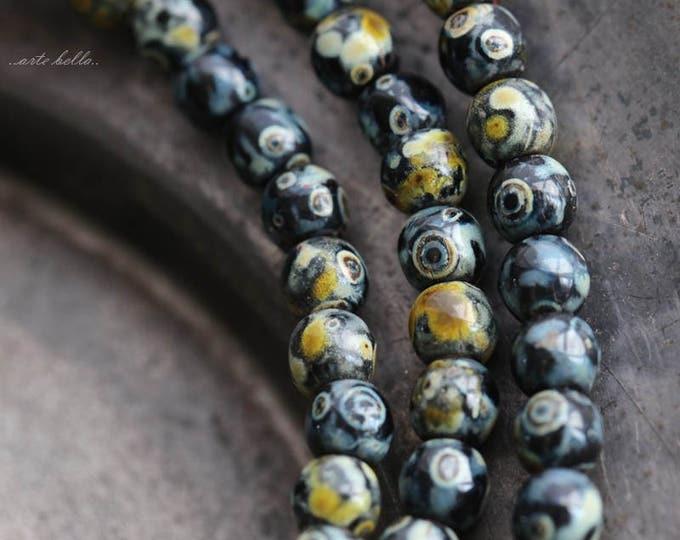 TWILIGHT DRUKS 4mm .. 50 Premium Picasso Czech Druk Glass Beads (5723-st)