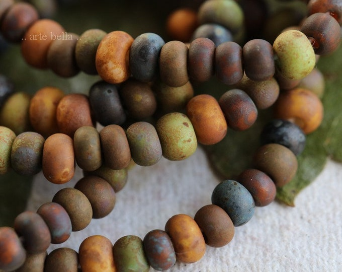 AUTUMN SEED MIX No. 7574m .. 20 Inches Premium Matte Picasso Czech Glass Aged Seed Bead Mix Size 5/0 (7574m-st)