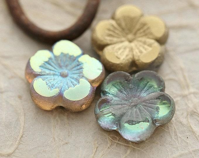 GOLDEN MYSTIC BLOOMS .. New 2 Premium Etched Czech Glass Hibiscus Flower Bead 21mm (8942-2)
