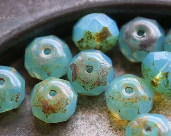 sale .. COASTAL .. 10 Premium Picasso Czech Rondelle Beads 6x8-9mm (470-10)