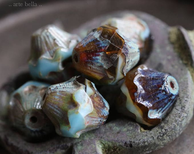 sale .. AMBER SKY LOVE .. 6 Premium Picasso Czech Glass Baroque Bicone Beads 11x10mm (5974-6)