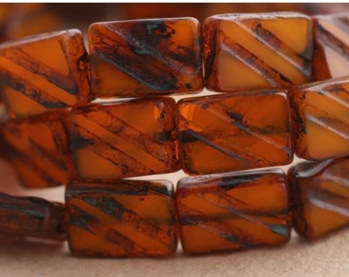 sale .. BUTTERNUT BRICKS .. 6 Picasso Czech Glass Rectangle Beads 13x9mm (B1057-6)