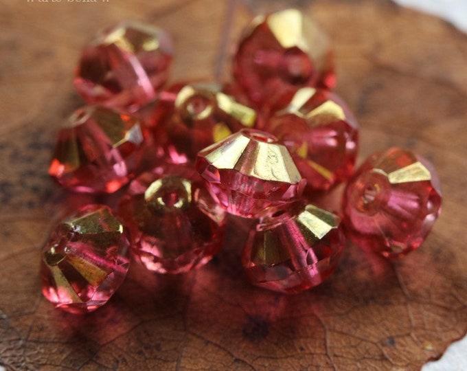 WICKED GOLDEN PINKS .. 10 Premium Picasso Czech Glass Rivoli Saucer Bead 6x9mm (8252-10)