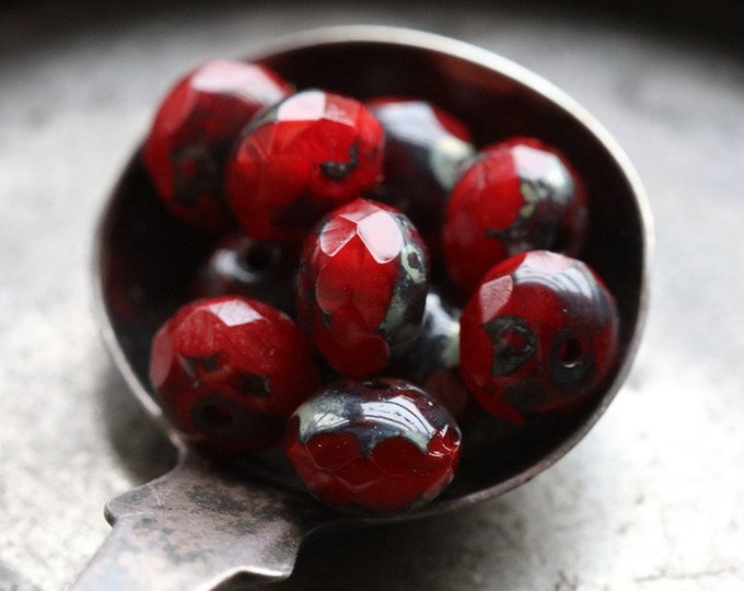 RED HOT POPS No. 2 .. 10 Premium Picasso Czech Rondelle Glass Beads 5x7mm (7146-10)