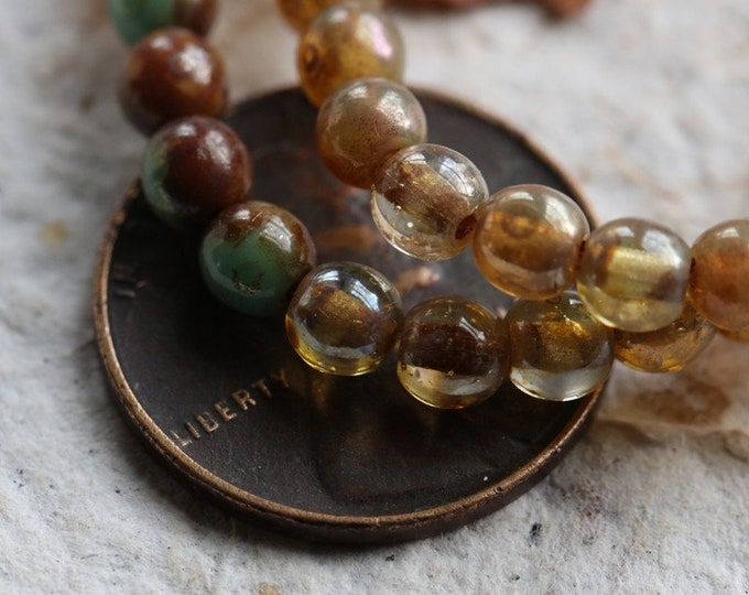 CASHMERE TORTOISE MARBLES 4mm .. 50 Premium Picasso Czech Druk Glass Beads (6823-st)