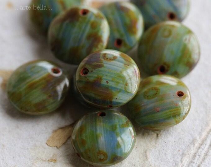 BEACHY DOTS .. 10 Premium Picasso Czech Glass Lentil Beads 12mm (6818-10)