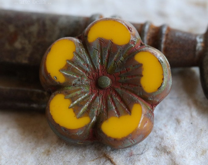 sale .. GOLDEN YELLOW HIBISCUS .. 1 Premium Picasso Czech Glass Hibiscus Flower Bead 21mm (6412-1)