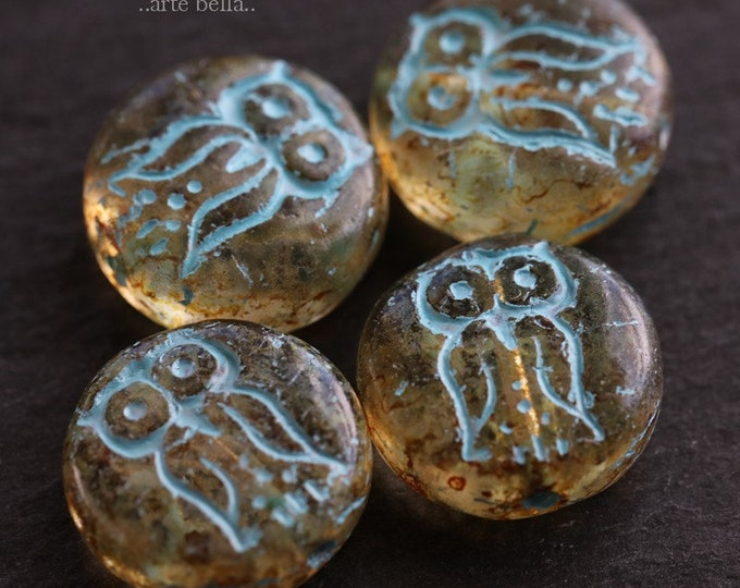AMBER HOO HOO .. 4 Picasso Czech Glass Owl Coin Beads 14mm (6226-4)