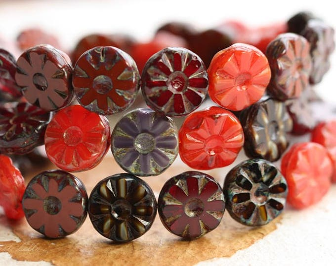 sale .. MIXED BLOSSOMS  .. 15 Picasso Czech Glass Flower Beads 12.5mm (B3000-st)