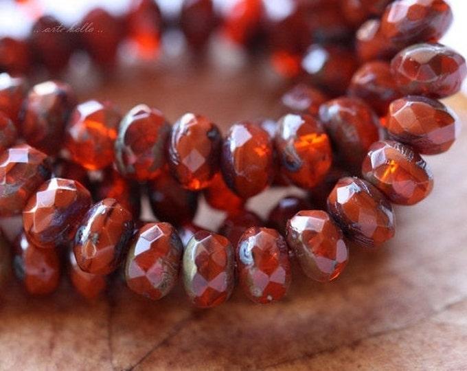 ZINNIA No. 1 .. 30 Premium Picasso Czech Rondelle Glass Beads 3x5mm (4488-st)