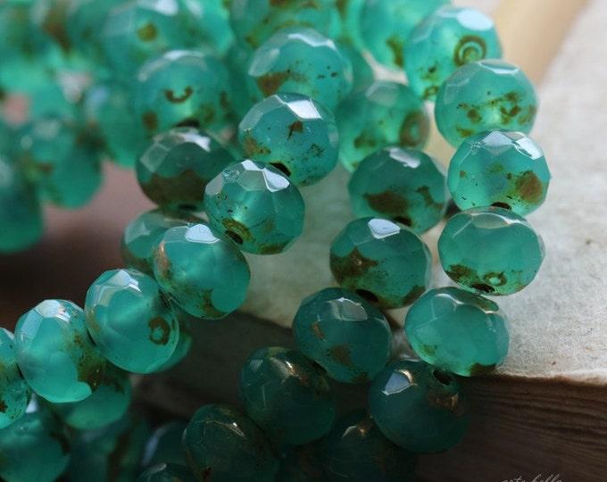 DEEP OCEAN TOTS .. 10 Premium Picasso Czech Rondelle Glass Beads 5x7mm (4763-10)
