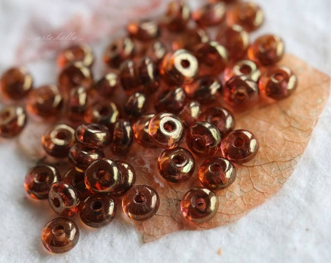 GILDED ROSE BITS .. 50 Premium Czech Glass Rondelle Beads 2x3mm (5829-50)
