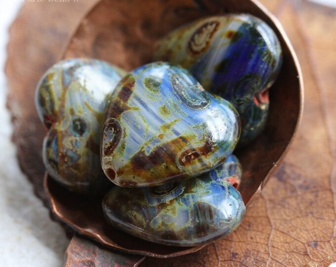 EARTHY BLUE THUMPERS No. 1 .. 4 Premium Picasso Czech Glass Puffy Heart Beads 16x15mm (8275-4)