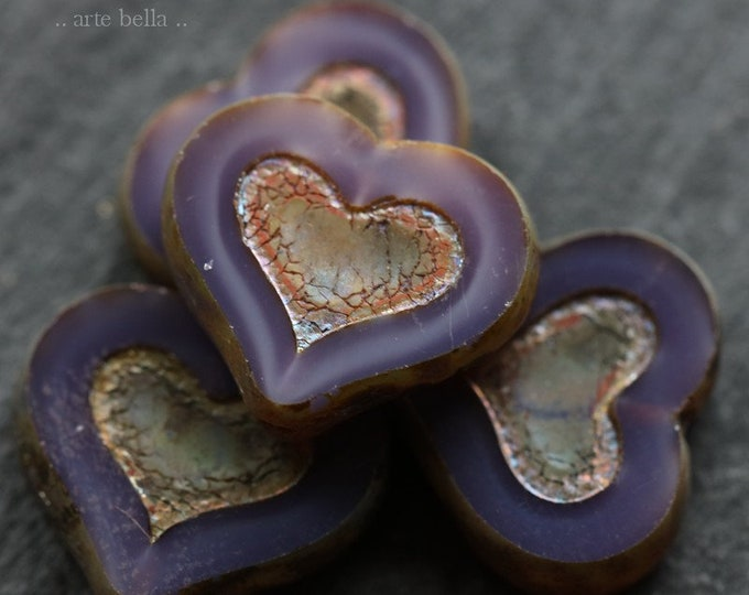 PURPLE OPAL THUMPERS .. New 4 Premium Picasso Czech Glass Heart Beads 14x12mm (7274-4)