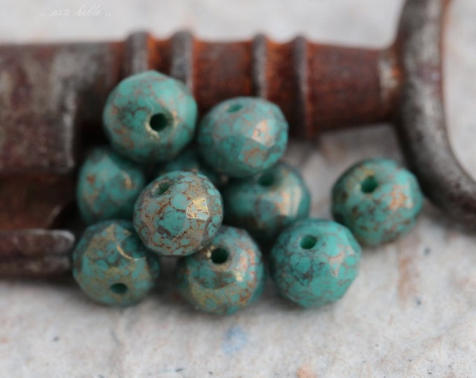 GILDED BLUES .. 10 Premium Picasso Czech Glass Rondelle Beads 5x7mm (5502-10)