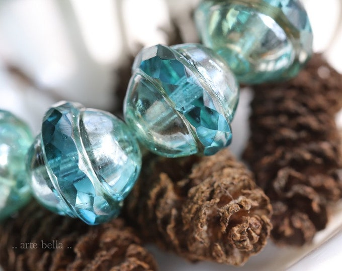SILVERED AQUA BLISS .. 10 Premium Picasso Czech Glass Saturn Beads 10x12mm (7790-10)