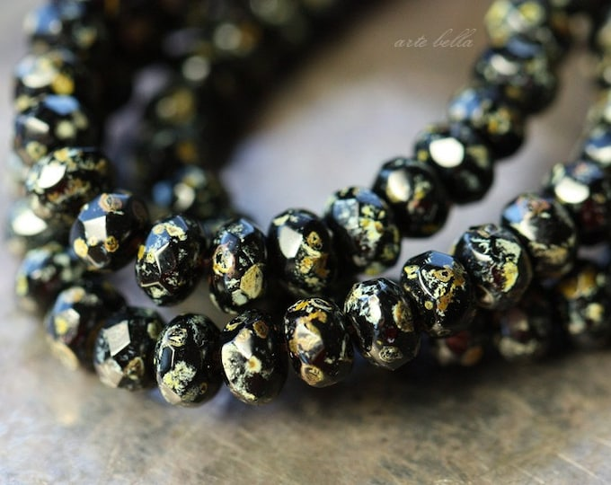 TWILIGHT BITS .. 30 Premium Picasso Czech Black Rondelle Bead 3x5mm (4183-st)