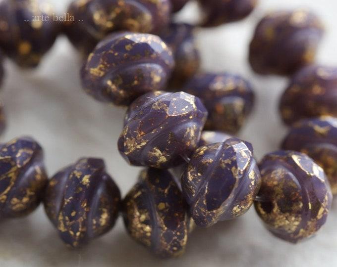 sale .. GILDED GRAPE BLISS .. 10 Premium Picasso Czech Glass Saturn Beads 8x10mm (6426-10)
