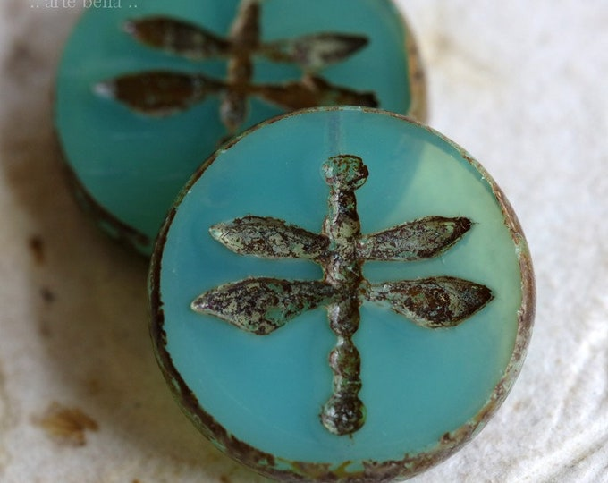 LAGOON DRAGONFLY COIN .. New 2 Premium Picasso Czech Glass Dragonfly Beads 18mm (7446-2)
