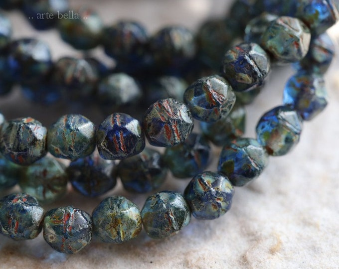 COBALT NUGGETS 4mm .. 50 Premium Picasso Czech Glass English Cut Beads (6551-st)