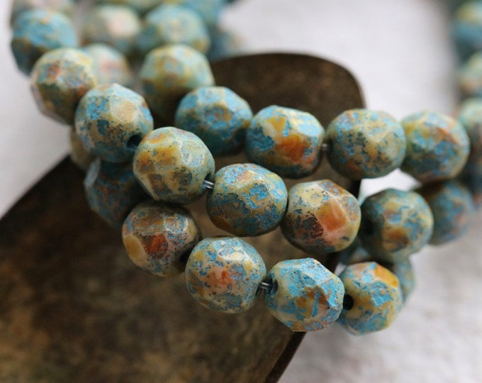 EARTHY BLUE PEBBLES .. New 25 Premium Etched Picasso Czech Glass Faceted Round Beads 6mm (8403-st)