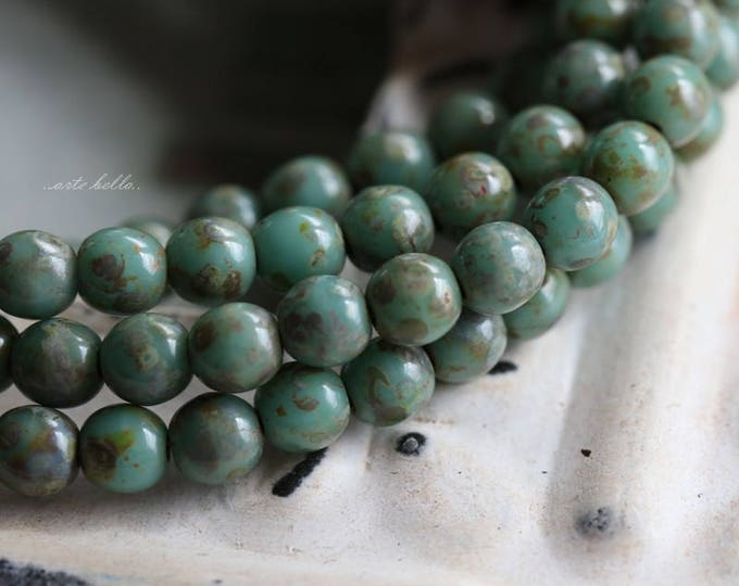 SEASPRAY DRUKS 4mm .. 50 Picasso Czech Druk Glass Beads 4mm (5806-st)