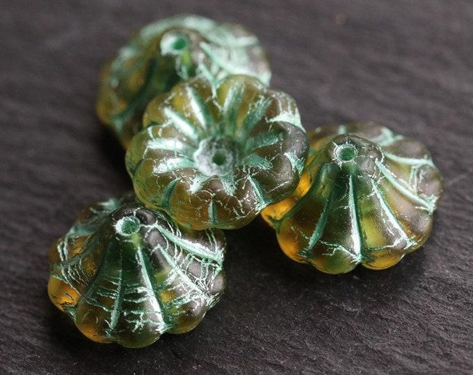 GOLDEN GREEN LILIES .. 4 Premium Picasso Matte Czech Glass Bell Flower Beads 15x8mm (7126-4)