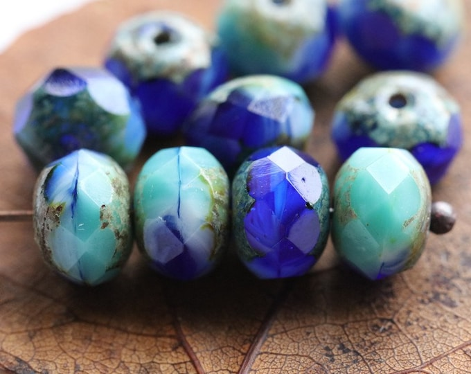 SUMMER SKIES No. 3 .. 10 Premium Czech Picasso Rondelle Glass Beads 6x8-9mm (5486-10)
