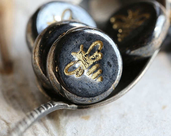GOLDEN HEMATITE BIZZY B .. New 6 Premium Czech Glass Bee Coin Beads 12mm (8485-6)