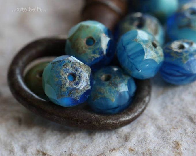 sale .. LAKESIDE No. 4 .. 10 Premium Picasso Czech Glass Rondelle Beads 6x8mm (6198-10)
