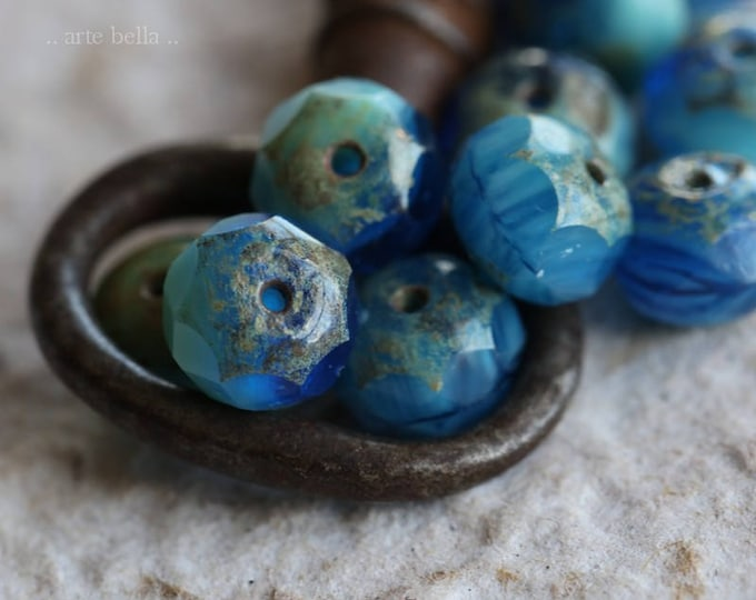 LAKESIDE No. 4 .. 10 Premium Picasso Czech Glass Rondelle Beads 6x8mm (6198-10)