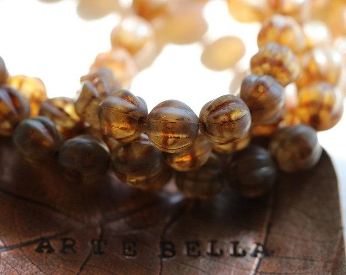 MATTE EARTHY MELONS .. 25 Premium Picasso Czech Glass Melon Beads 6mm (8344-st)