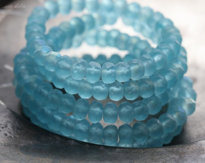 BLUE CRUSH .. 30 Premium Picasso Czech Rondelle Glass Beads 3x5mm (4683-st)