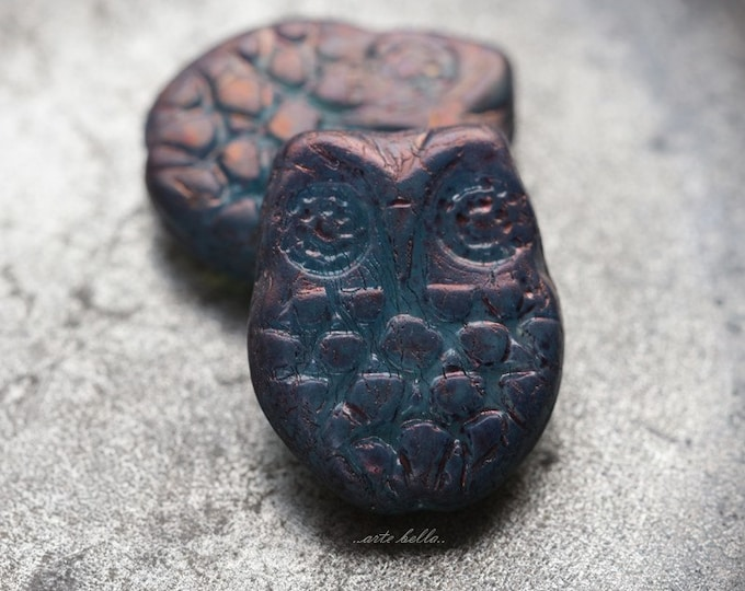 MYSTIC HOOTS .. 2 Premium Picasso Czech Glass Owl Beads 18x15mm (5457-2)