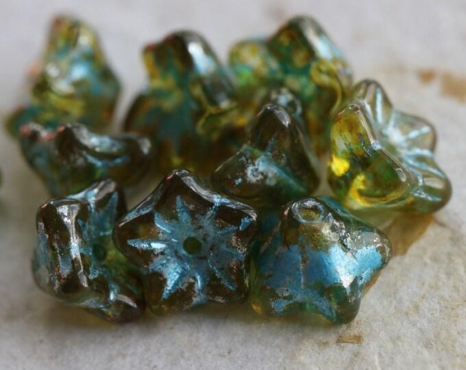 BLUE SPRING BELLS .. 10 Premium Picasso Czech Glass Bell Flower Bead 5x8mm (6877-10)