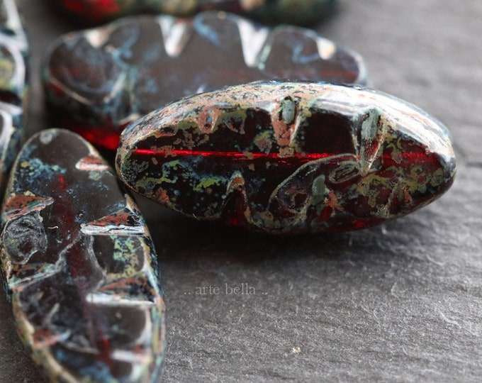CARVED POMEGRANATE PETALS .. 6 Premium Picasso Czech Glass Carved Spindle Beads 18x7mm (6659-6)