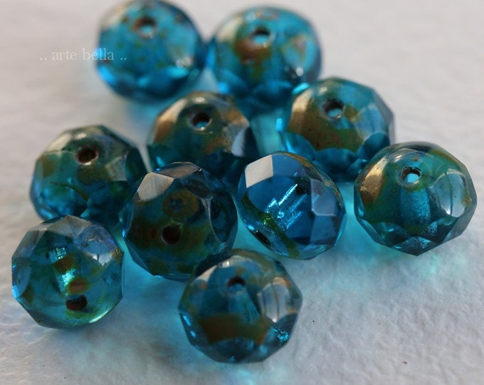 AQUA BLUE POND .. 10 Premium Picasso Czech Glass Rondelle Beads 6x8mm (6844-10)