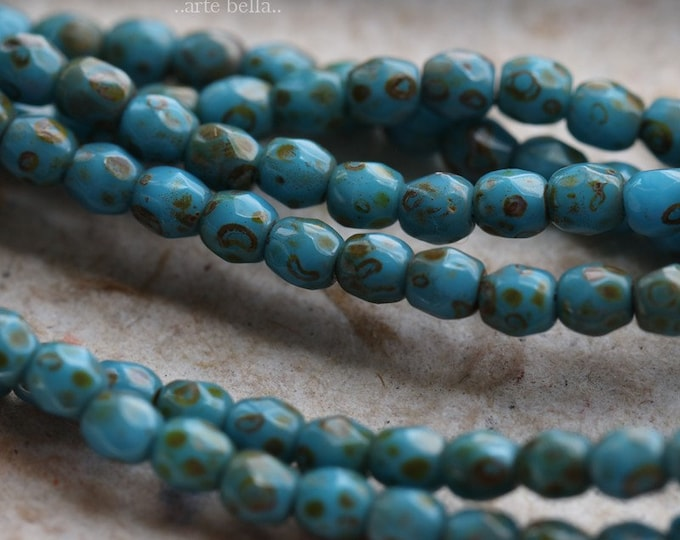 CERULEAN BITS .. 50 Premium Picasso Faceted Czech Glass Beads 3mm (6495-st)
