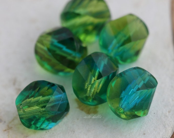 TWISTED SUMMER DAY .. 6 Premium Czech Faceted Glass Beads 8x10mm (5404-6)