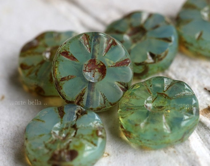 AQUA GREEN BLOSSOMS  .. New 6 Premium Picasso Czech Glass Flower Beads 12mm (7213-6)