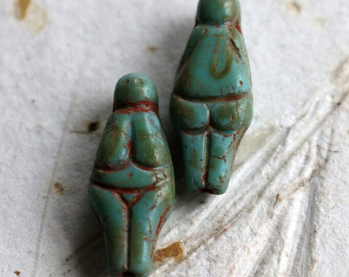 TURQUOISE GODDESS.. 2 Premium Picasso Czech Glass Goddess Beads 21x10mm (7209-2)