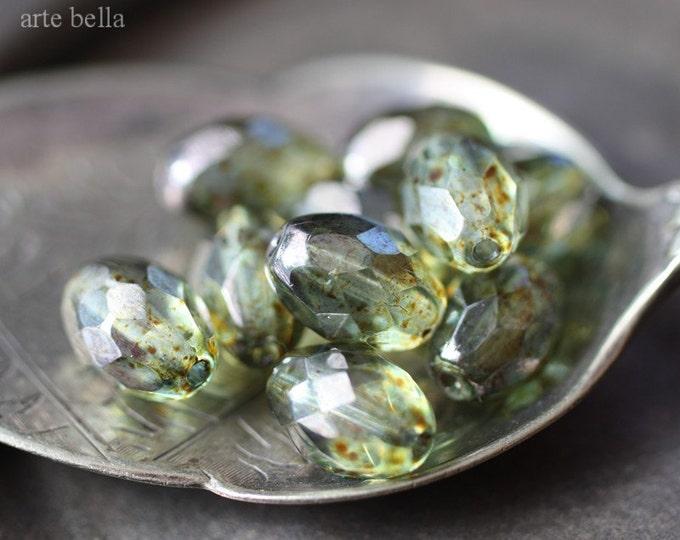 PINE .. 10 Picasso Glass Czech Oval Beads 11x8mm (1823-10)