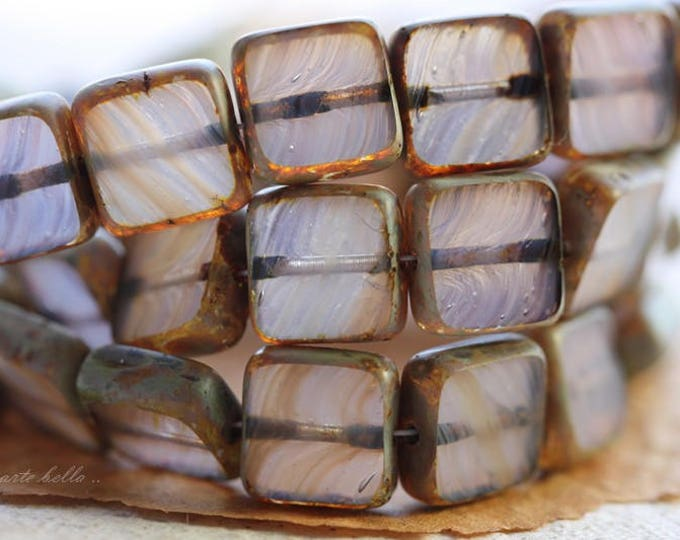 sale .. FOXGLOVE .. 15 Premium Picasso Czech Glass Square Beads 9mm (B1014-15)