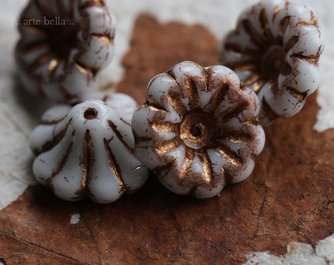 last ones .. BRONZED WHITE LILIES .. 4 Premium Matte Czech Glass Bell Flower Beads 15x8mm (7125-4)