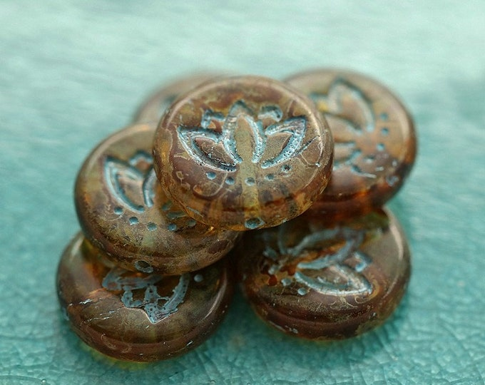 EARTHY BLUE LOTUS Blooms .. New 6 Premium Picasso Czech Glass Lotus Coin Beads 14mm (8884-6)