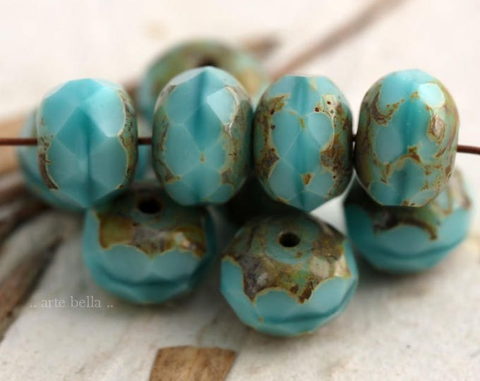last ones .. TURQUOISE SILK .. 10 Premium Picasso Czech Glass Faceted Rondelle Beads 6x9mm (6111-10)