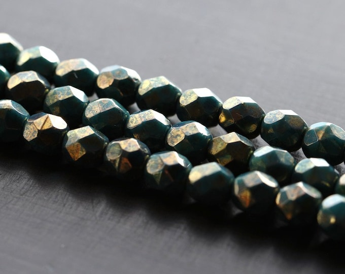 BRONZED TEAL PEBBLES .. 25 Premium Luster Picasso Czech Glass Beads 6mm (3307-st)