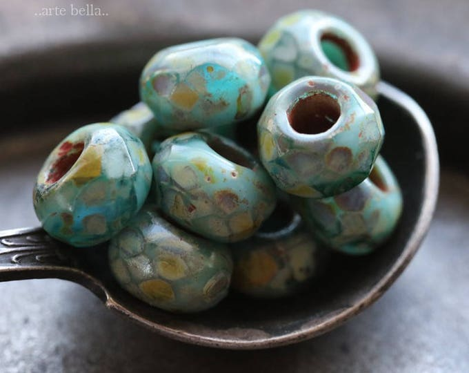 SEASHORE ROLLERS .. 10 Picasso Czech Glass Large Hole Roller Beads 6x9mm (6080-10)