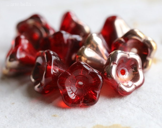 GOLDEN CRANBERRY BUDS .. 10 Premium Picasso Czech Glass Flower Beads 8x6mm (7817-10)