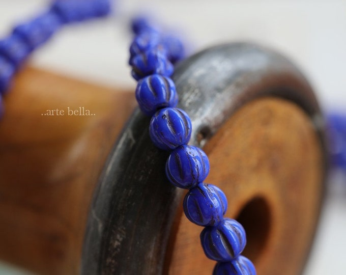INDIGO MELONS .. 50 Premium Picasso Czech Glass Melon Beads 4mm (6277-st)
